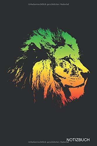 Reggae Löwe: NOTIZBUCH / NOTIZHEFT  A5 (6x9 inch) Liniert | für alle Rastfari, Rasta, Hippies, Jamaica, Reggaeton Musik Fans | Coole Geschenkidee