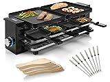 Raclette - Dispositivo con pedone, 2 piastre per barbecue reversibili per 2-8 persone e 8 forchette teppanyaki, superficie griglia: 2 x 21 x 23 cm, 1200 Watt
