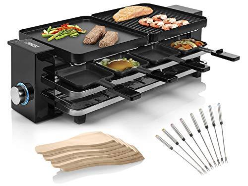 RACLETTE Gerät mit Parkdeck, 2 wendbaren Grillplatten für 2-8 Personen & 8 Teppanyaki Gabeln, Grillfläche 2x 21x23cm, 1200 Watt