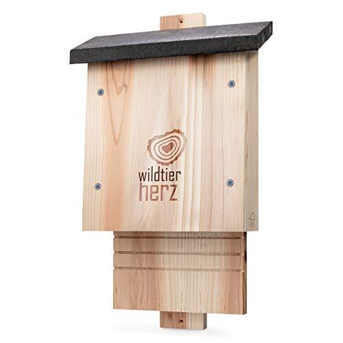 wildtier herz | Großer Fledermauskasten nach NABU aus FSC® Massiv-Holz - verschraubt, wetterfest, unbehandelt, Fledermaus-Haus & Nistkasten Fledermäuse, Sommer & Winterquartier