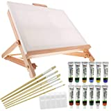 US Art Supply 21-Piece Acrylic Painting Table Easel Set with, 12-Tubes Acrylic Painting Colors, 11'x14' Stretched Canvas, 6 Artist Brushes, Plastic Palette with 10 Wells