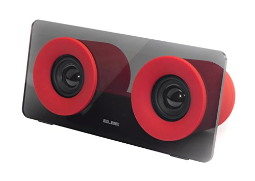 ELBE ALT-321-RD - Altavoz Bluetooth portátil, doble salida de audio, 6 W, Aux-In, color rojo