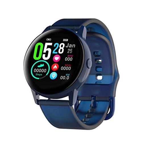 HDDFG Reloj inteligente para hombre con pasómetro, pulsera IPS de ritmo cardíaco, presión arterial, oxígeno IP68, resistente al agua, reloj inteligente (color: azul)