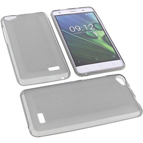 foto-kontor Tasche für Acer Liquid Z6E Gummi TPU Schutz Handytasche grau
