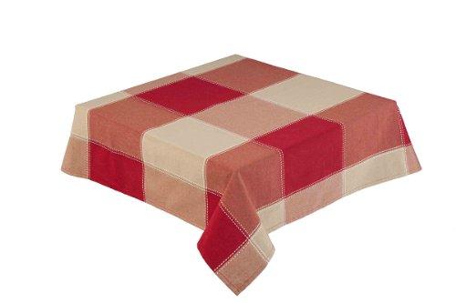 LINEN702) 132,1 cm carré (132 cm) Rouge/Naturel Grande Nappe à Carreaux (République 59922)