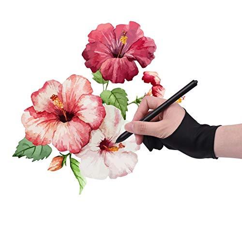 Fesjoy Guante de Artista,Guante de Dibujo de tamaño Libre para Dos Dedos, para Tableta de Artista, para Pintar para Mano Derecha e Izquierda, Compatible con Huion / Wacom / / UGEE / VINSA, Monitor de
