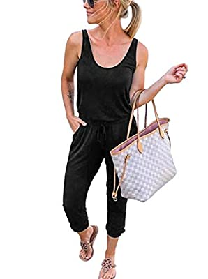 REORIA Women Summer Casual Sleeveless Tank Top Elastic Waist Loose Activewear Jumpsuit Rompers with Pockets Plus Size Black X-Large