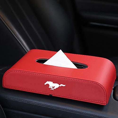 SXRKRZLB Auto Tissue Box Cover Tissue Box Boxenhalter Pu Leder Innen ZubehöR FüR Ford Mustang Logo