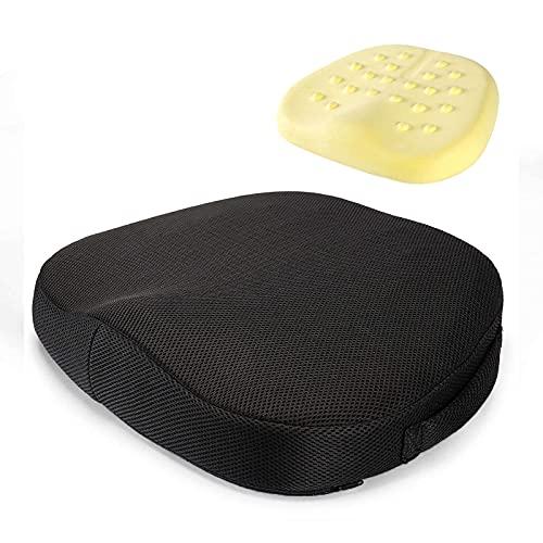 Cuscino per sedile in memory foam, portatile, facile da pulire, allevia il mal di schiena, coccige dolore, imbottitura in memory foam per sedenziali sedie da ufficio, sedia di guida, colore nero