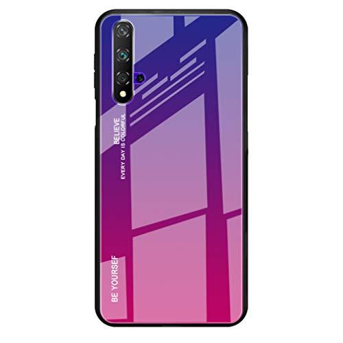 HAOYE Hülle für Huawei nova 5T Hülle, Farbverlauf-Glas Back Cover Handyhülle, Ultra Thin Tasche Cover TPU Silikon Grenze Shock Absorption Stoßfest Case Schutzhülle(4)