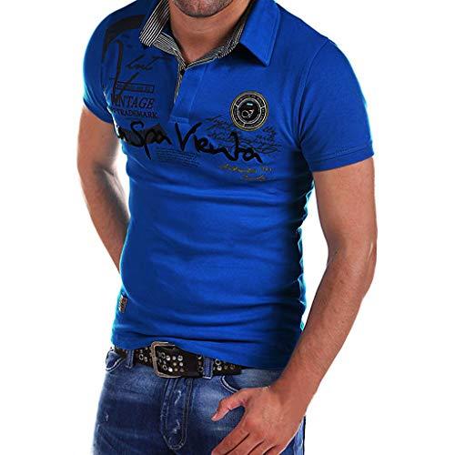 Celucke Polohemd Besticken Poloshirt Herren Mit Coole Print, Männer Polo Hemd Shirt Kurzarm Basic T-Shirt Freizeit Polohemden Kurzarmhemd Herrenhemden Sweatshirt Kurzarmshirt (Blau,XXXL)