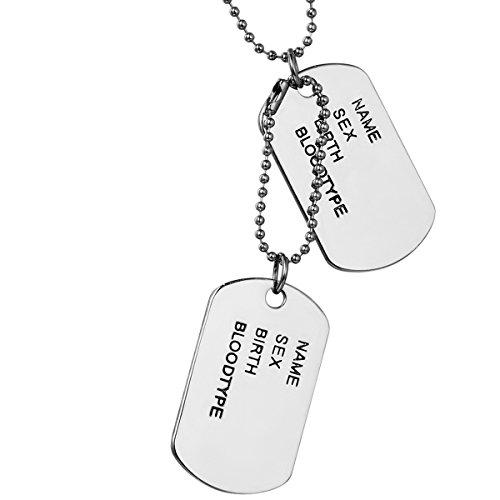 Flongo Gioielli Collana con Pendente da Uomo, Ciondolo Catena, Piastrine Militari, Dog Tag Stile Esercito, Lega, Argento 68cm