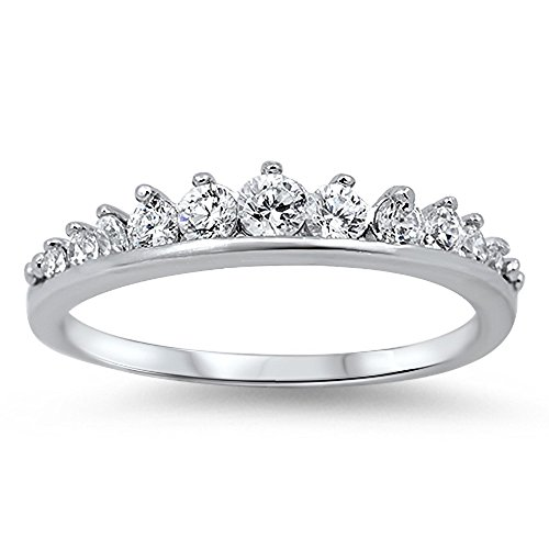 CloseoutWarehouse Cubic Zirconia Journey Tiara Ring Sterling Silver Size 11