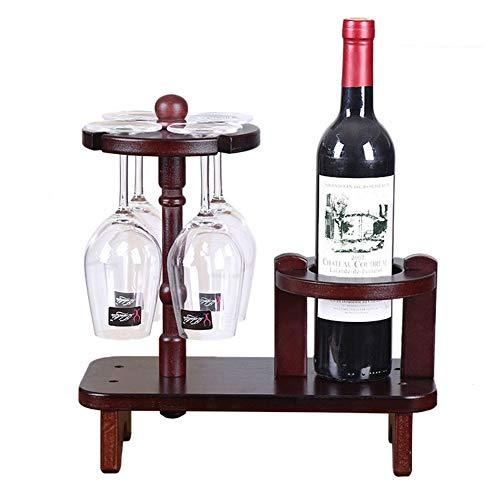 HOMERACK Wijnrek van hout wijnglashouder Creative wijnfleshouder vrijstaand wijnrek wijnglas-frame voor 1 flessen en 4 wijnglaasjes eenvoudig op te stellen CHIHEN