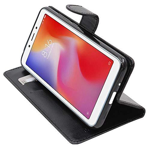 ebestStar - Cover Compatibile con Xiaomi Redmi 6 6A Custodia Portafoglio Pelle PU Protezione Libro Flip, Nero [Apparecchio: 147.5 x 71.5 x 8.3mm, 5.45'']