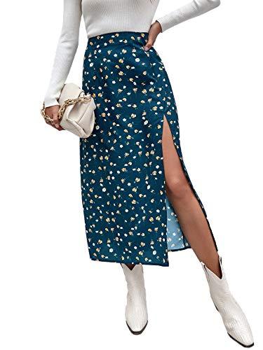 DIDK Femme Jupe Fendue Fleurie À Imprimé Floral Jupe Longue Bohème Boho Taille Haute pour Printemps Été Jupe Casual Elégante Bleu 3-S