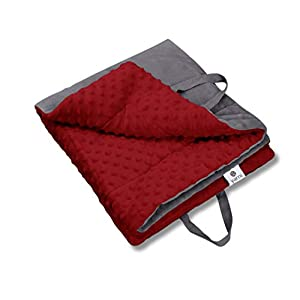 YARNI Baby Blanket Soft Minky Dotted Fabric Folds into Bag | Play Mat Bag| Tummy Time mat | Warm Double Layer Fabric – for Boys, Girls, Newborn, Toddler Size Crib Bedding | 3 Colors (Wine/ Dark Grey)