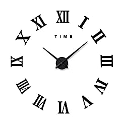 Xinlands DIY Wall Clock Silent 3D Acrylic Sticker Roman Numbers Adhesive Modern Art Wall Clock Parts Kit Home Decorations for Office Living Room Bedroom (Black)