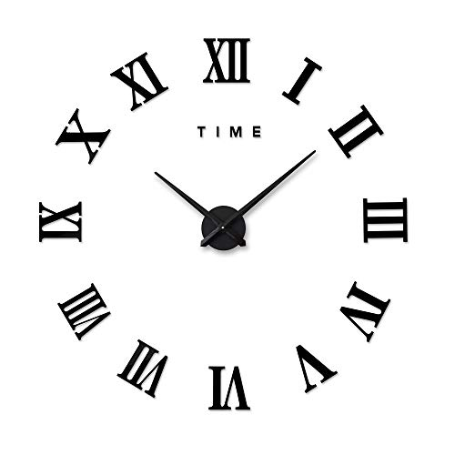 Xinlands DIY Wall Clock Large Silent 3D Acrylic Sticker Roman Numbers Adhesive Modern Art Wall Clock Parts Kit Home Decorations for Office Living Room Bedroom (black)