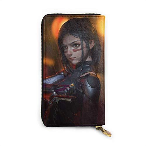 XCNGG Alita Battle Angel Brieftasche RFID Blocking Echtes Leder Zip-Around Brieftaschen Geldbörse Reisetasche um Kartenhalter Organizer Clutch Bag