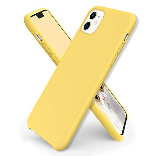 ORNARTO Funda Silicone Case para iPhone 11, Carcasa de Silicona Líquida Suave Antichoque Bumper para iPhone 11 (2019) 6,1 Pulgadas-Amarillo Limón