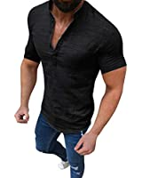 Honestyivan Men's Casual Cotton Linen Stand Collar Loose Beach Short Sleeve Shirt Business Simple Blouse T-Shirt Tops Summer Black
