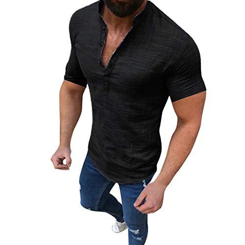 Fenverk Kurzarm Herren Hemd Herren-Hemden Stehkragen Kurzarm-Hemd Shirts MäNner Mode Top FrüHling Herbst Button Casual T-Shirts Leinen Und Baumwolle Bluse(Schwarz A,M)