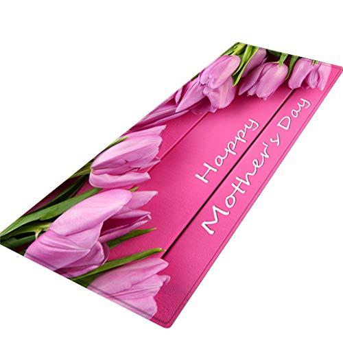 Xmansky Flanell Blumen gedruckten Schlicker saugfähige Matten,Muttertags-Serie Comfort Square Flanell Küche Anti-Rutsch-Fußmatten Kinderzimmer Teppich 40X120CM