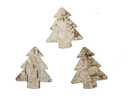 RiloStore 100 STK Birkenrinde Tannenbäume 2,5cm Deko Bäume Birke Rinde Holzbäume Weihnachtsdeko Basteln Adventskränze