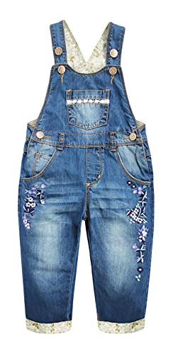 Kidscool Space Baby&Little Girls Flower Embroidered Washed Cotton Denim Overalls,Blue,4-5 Years