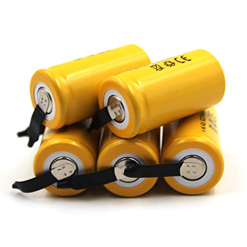(5-Pack) 1.2V 2300mAh Sub-C Cell Ni-CD Rechargeable Batteries for Power Tools Flat Top with Tabs