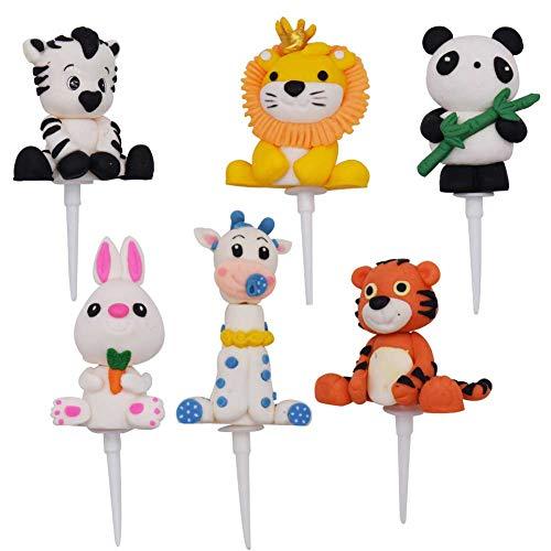 6PCS Decoraciones para Pasteles, JPYZ Animal Cupcake Toppers,Decoracion cumpleaños, para Niños Ducha de Bebé Fiesta de Cumpleaños DIY Decoración Suministros