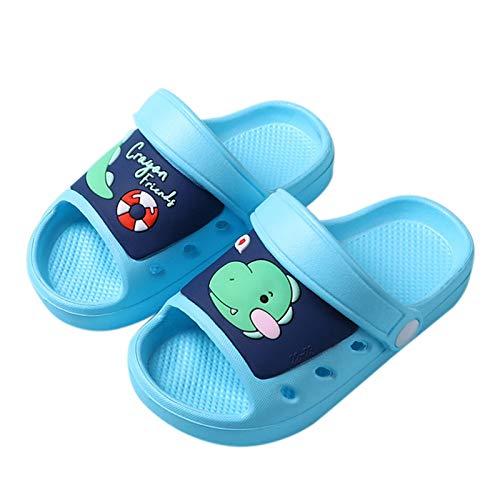 Ghemdilmn Zapatillas de casa para niños, con dibujos animados, dinosaurios, sandalias, unisex, para niños, para playa, verano, zapatillas planas, antideslizantes. azul celeste 22