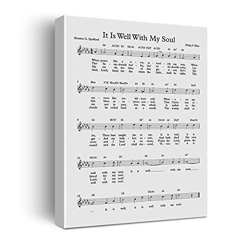 It is Well with My Soul Canvas Wall Art Painting Ready to Hang for Home Décor,Biblical Sheet Music Print Wall Décor,Mother's Day Gift, Easel & Hanging Hook 12x15 Inch