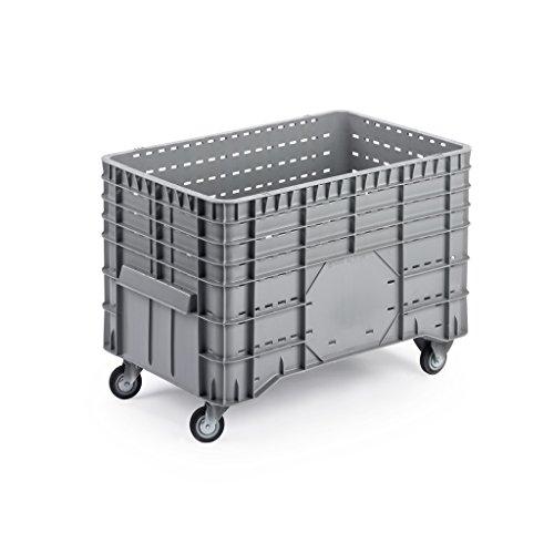 VE = 1 Stück - Rollen-Großbehälter aus Polyethylen - 1020x640x700 mm - 2 Lenk- und 2 Bockrollen Ø 100 mm - Großbehälter mit Rädern