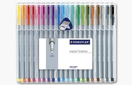 Staedtler Triplus Fineliner Pens 20 color Pack , 0.3MM medal clad tip by Staedler