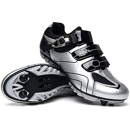 Zapatillas de Bicicleta MTB Pro para Hombre,Zapatillas de Bicicleta de Montaña SPD Zapatillas de Bicicleta de Carretera Zapatillas de Ciclismo Al Aire Libre Transpirables,White-EU47