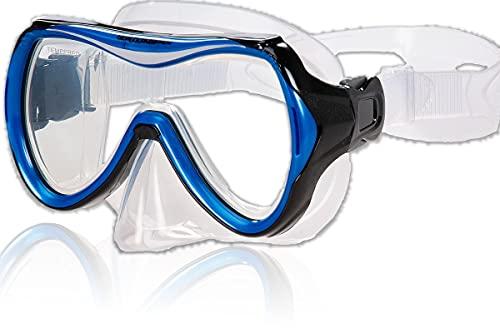 AQUAZON Maui Junior Medium Schnorchelbrille, Taucherbrille, Schwimmbrille, Tauchmaske für Kinder, Jugendliche von 7-14 Jahren, Tempered Glas, sehr robust, tolle Passform, Farbe:blau Junior