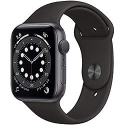 Apple Watch Series 6 (GPS, 44 mm) Cassa in alluminio grigio siderale con Cinturino Sport nero