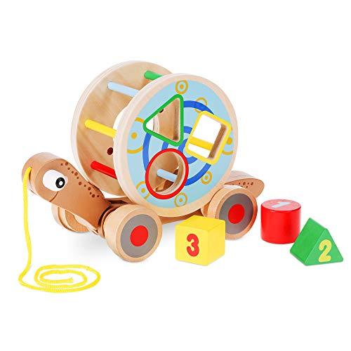 Navaris Juguete de arrastre de madera - Caracol con 4x rueda y 3x bloque de construcción para niña niños y bebés +18 meses - Juguetes montessori