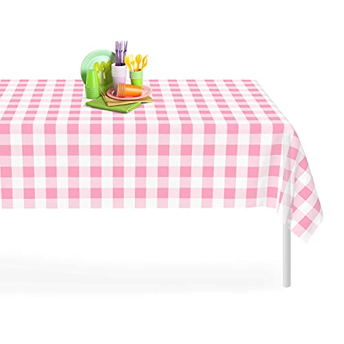 Pink Checkered Gingham 6 Pack Premium Disposable Plastic Tablecloth 54 Inch. x 108 Inch. Decorative Rectangle Table Cover by Grandipity