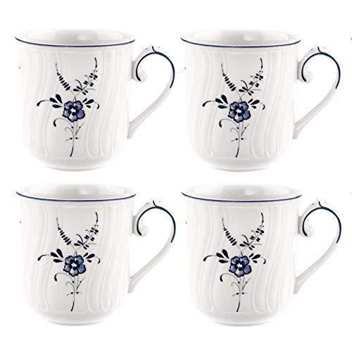 Villeroy & Boch 4er Set Kaffeebecher Tassen Vieux Luxembourg für 350ml weiß blau