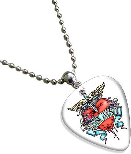Bon Jovi Heart Chain Necklace Guitar Plektrum Plektron Gitarren-Pick Kette