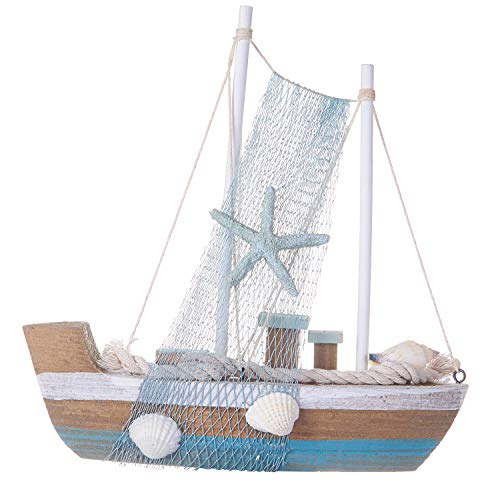 Chaomian Home Ornaments Fully Assembled 9.2'x8.4' Wooden Nautical Starfish Fish Net Sailboat (Starfish A)
