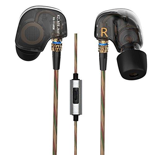KZ ATE In-Ear-Kopfhörer, 3,5 mm, HiFi, Metall, Auriculares-Kopfhörer, Super-Bass, In-Ear Kopfhörer für Smartphones, Schwarz mit Micro
