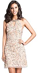 Champagne Lara 33126 Beaded Short Dress Halter Neckline with Key Hole
