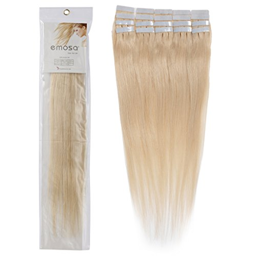 20 inch Emosa Remy Stright PU Tape Skin Seamless Human Hair Extensions #613 Blonde 100g