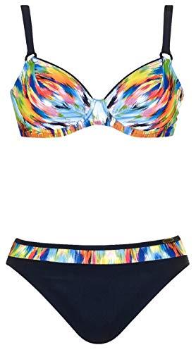 Sunflair Damen Bügel Bikini-Set Painted Curl (910 schwarz/Multicolor, 42B)