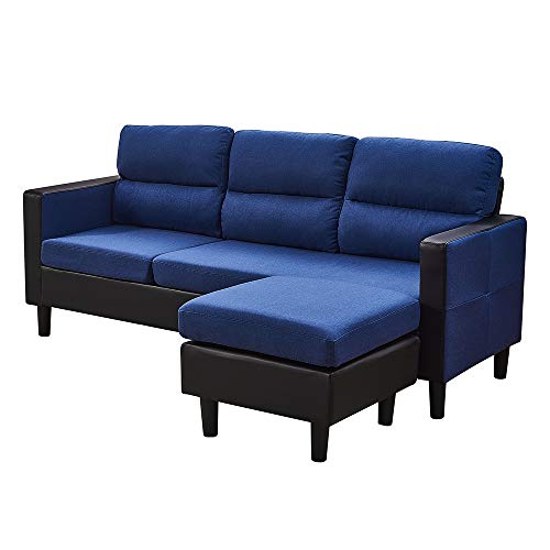 3 Seater Sofa with Reversible Chaise Footstool Fabric And Faux Leather L Shaped Corner Sofa Couch Left & Right Hand Side Living Room Furniture (Blue)