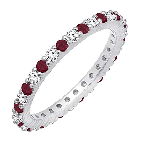 Dazzlingrock Collection 14K Round Ruby & White Diamond Ladies Eternity Stackable Ring Wedding Band, White Gold